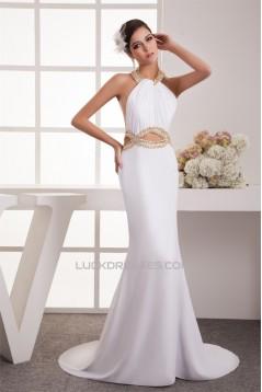 Trumpet/Mermaid Halter Chiffon Sleeveless Beaded Long White Prom/Formal Evening Dresses 02020458