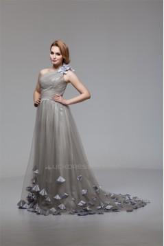 A-Line One-Shoulder Fine Netting Sleeveless Prom/Formal Evening Dresses 02020460