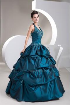 Ball Gown Halter Ruffles Beaded Appliques Floor-Length Prom/Formal Evening Dresses 02020462