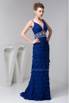 Sheath/Column Spaghetti Straps Brush Sweep Train Prom Evening Dresses 02020464