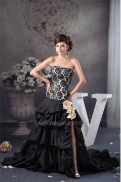A-Line Strapless Satin Taffeta Lace Handmade Flowers Prom/Formal Evening Dresses 02020465