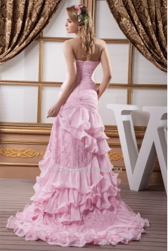 Asymmetrical Sleeveless Ruffles Sweetheart Lace Chiffon Prom/Formal Evening Dresses 02020468