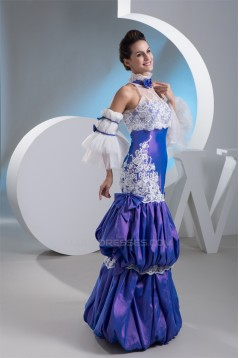 Ball Gown High-Neck Taffeta Lace Floor-Length Prom/Formal Evening Dresses 02020470
