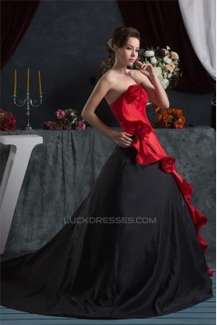Ball Gown Strapless Handmade Flowers Satin Taffeta Prom/Formal Evening Dresses 02020473