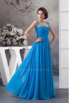 A-Line Beading Sleeveless Scoop Floor-Length Prom/Formal Evening Dresses 02020475