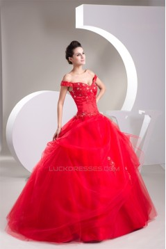Ball Gown Beading Brush Sweep Train Off-the-Shoulder Formal Wedding Dresses 02020476