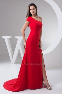 Beading Chiffon Brush Sweep Train Sheath/Column One-Shoulder Evening Bridesmaid Dresses 02020477