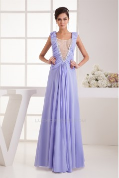 Beading Chiffon Fine Netting A-Line V-Neck Prom/Formal Evening Dresses 02020478