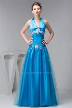 A-Line Beading Floor-Length Halter Fine Netting Prom/Formal Evening Dresses 02020480
