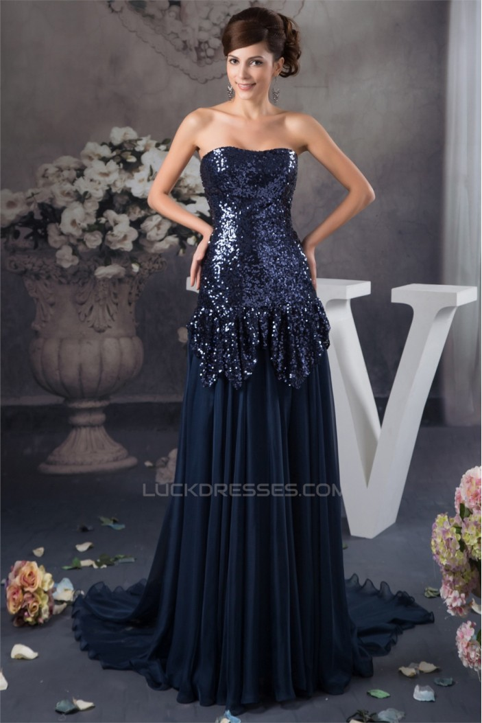 Breathtaking Ruffles Brush Sweep Train Soft Sweetheart Sequins Dresses 02020488