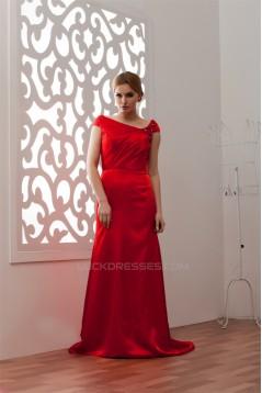 Brush Sweep Train A-Line Portrait Elastic Woven Satin Prom/Formal Evening Dresses 02020489