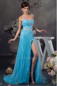 Brush Sweep Train Beading Sleeveless Sheath/Column Prom/Formal Evening Dresses 02020490