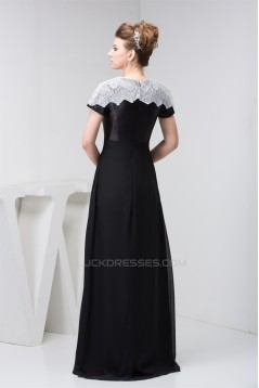 Brush Sweep Train Chiffon Lace High-Neck Prom/Formal Evening Dresses 02020492