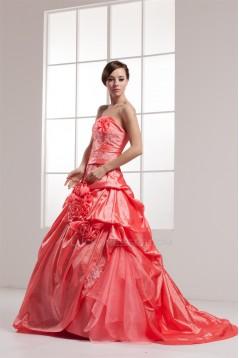 Brush Sweep Train Sleeveless Handmade Flowers Prom/Formal Evening Dresses 02020495