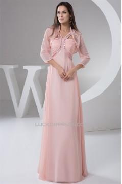 Chiffon Straps Sleeveless Long Pink Prom/Formal Evening Dresses 02020508