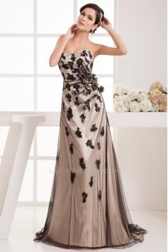 Elastic Woven Satin Fine Netting Sleeveless Prom/Formal Evening Dresses 02020513