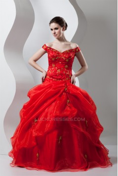Floor-Length Ball Gown Off-the-Shoulder Organza Prom/Formal Evening Dresses 02020514