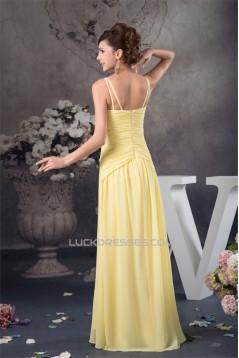 Sheath/Column Floor-Length Criss Cross Spaghetti Straps Long Yellow Prom Evening Bridesmaid Dresses 02020521