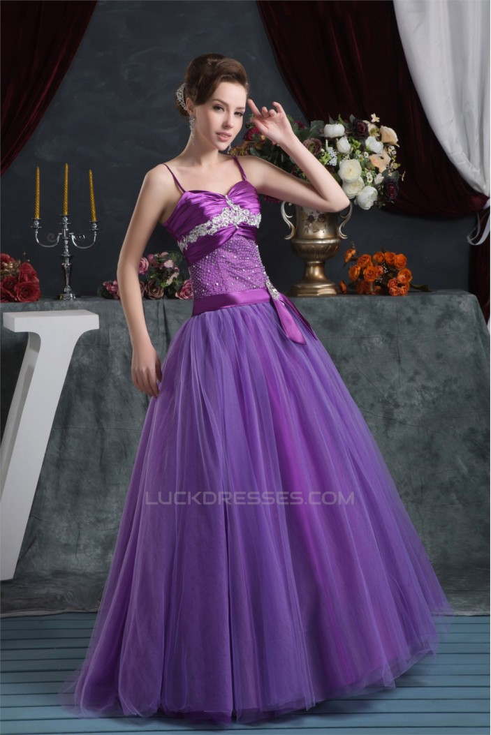 Ball Gown Purple Satin Lace Fine Netting Prom/Formal Evening Dresses 02020523