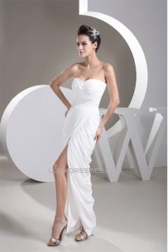 Sheath/Column Sweetheart Floor-Length Split Side Long White Prom/Formal Evening Dresses 02020525