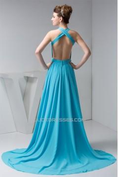 Halter Sleeveless Long Blue Chiffon Prom/Formal Evening Dresses 02020530