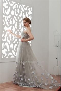 Handmade Flowers Sleeveless A-Line Satin Fine Netting Plus Size Prom/Formal Evening Dresses 02020531