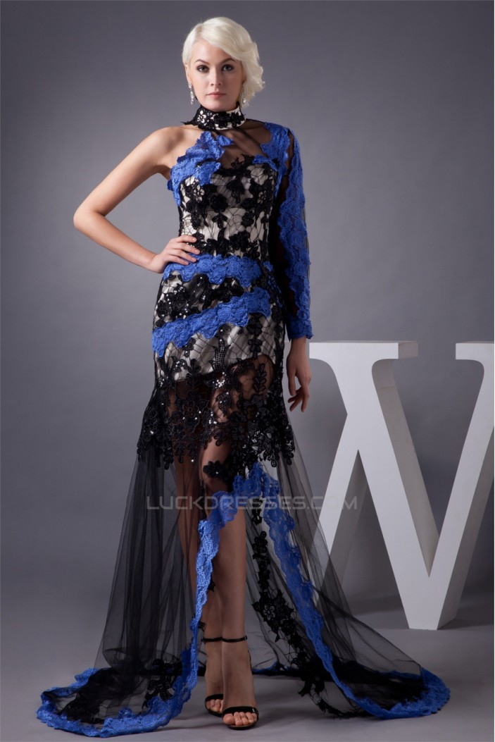 High-Neck Lace Long Sleeve Sheath/Column Prom/Formal Evening Dresses 02020532