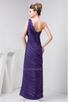 One-Shoulder Chiffon Long Purple Pleats Prom Evening Bridesmaid Dresses 02020539