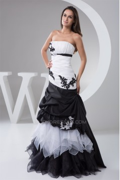 Ruffles Sleeveless A-Line Satin Taffeta Fine Netting Prom/Formal Evening Dresses 02020543