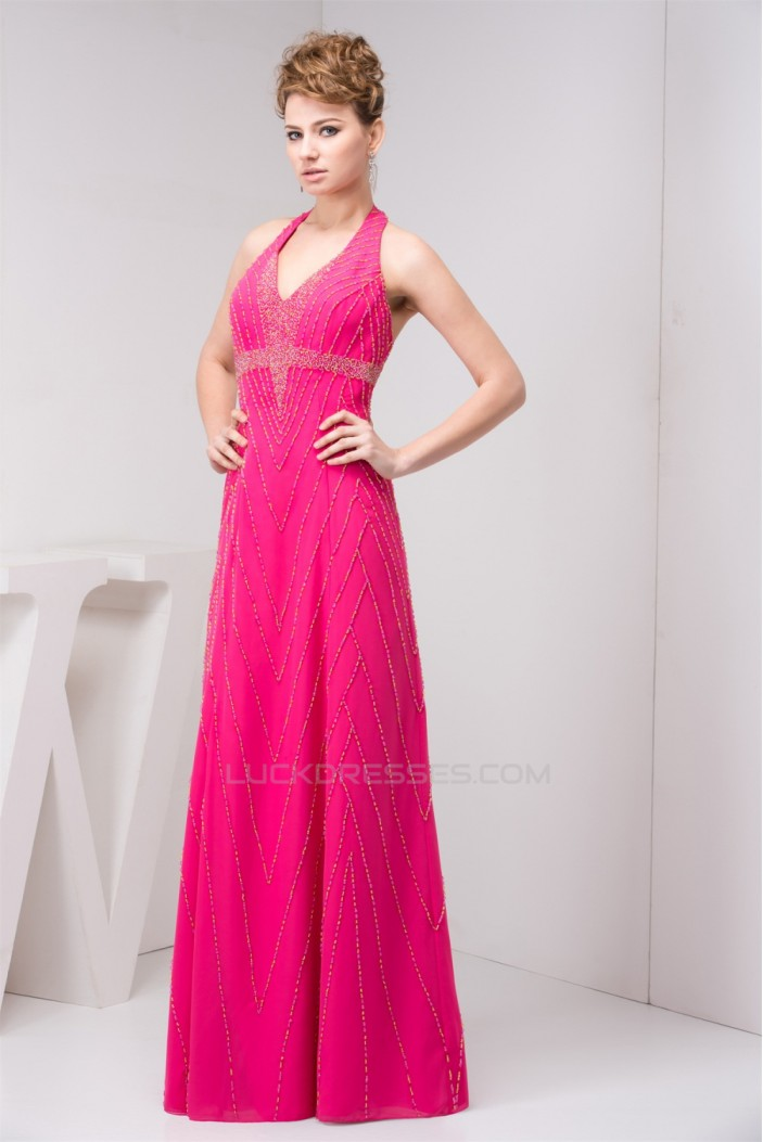 Chiffon Sleeveless Halter Beaded Prom Evening Formal Dresses 02020547