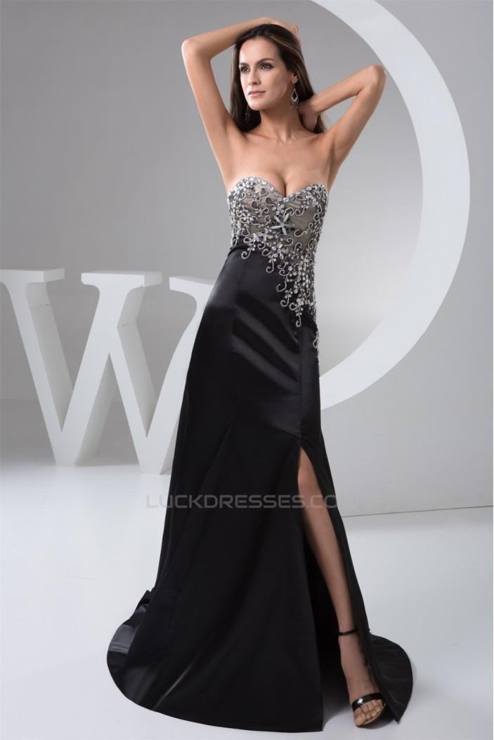A-Line Sweetheart Brush Sweep Train Long Black Prom/Formal Evening Dresses 02020549