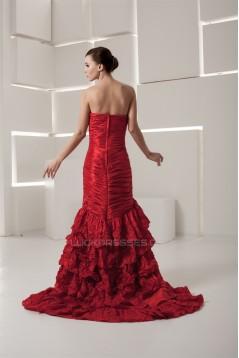 Satin Taffeta Handmade Flowers Sleeveless Prom/Formal Evening Dresses 02020551
