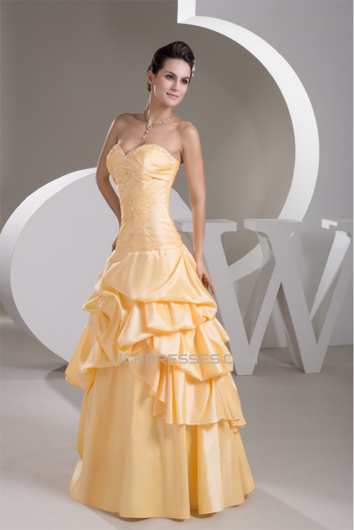 Satin Taffeta Sleeveless A-Line Sweetheart Prom/Formal Evening Dresses 02020552