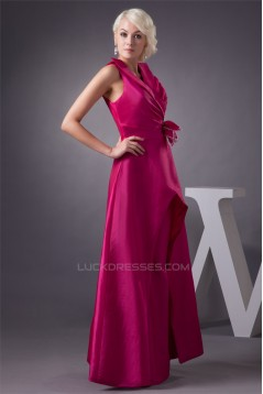 Satin Taffeta V-Neck Floor-Length Handmade Flowers Prom/Formal Evening Dresses 02020553