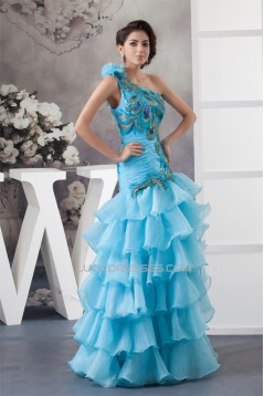 Satin Tiered Princess One-Shoulder Sleeveless Prom/Formal Evening Dresses 02020554