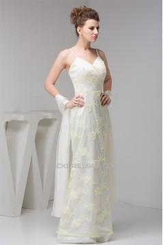 Sheath/Column Beading Floor-Length Silk like Satin Fine Netting Prom/Formal Evening Dresses 02020555