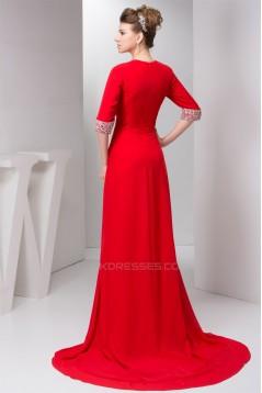 Sheath/Column Half Elbow Length V-Neck Prom/Formal Evening Dresses 02020559