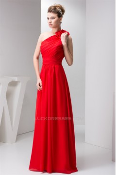 A-Line One-Shoulder Long Red Chiffon Floor-Length Long Bridesmaid Dresses 02020566