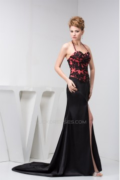 Silk like Satin Halter Sleeveless Split Front Evening Prom Formal Dresses 02020568