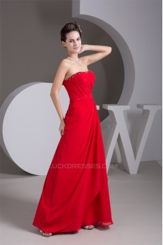 Sleeveless A-Line Beading Floor-Length Chiffon Prom Evening Party Dresses 02020570