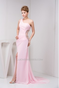 Sleeveless Brush Sweep Train One-Shoulder Evening Party Mother of the Bride Dresses 02020575