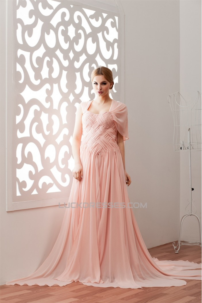Sleeveless Chiffon Elastic Woven Satin Sweetheart Prom/Formal Evening Dresses 02020577
