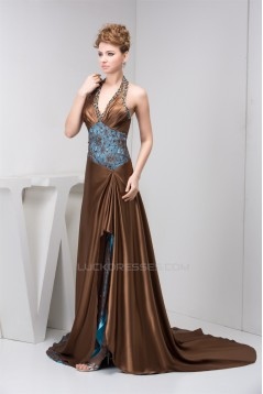 Sleeveless Halter Lace A-Line Brush Sweep Train Prom/Formal Evening Dresses 02020584