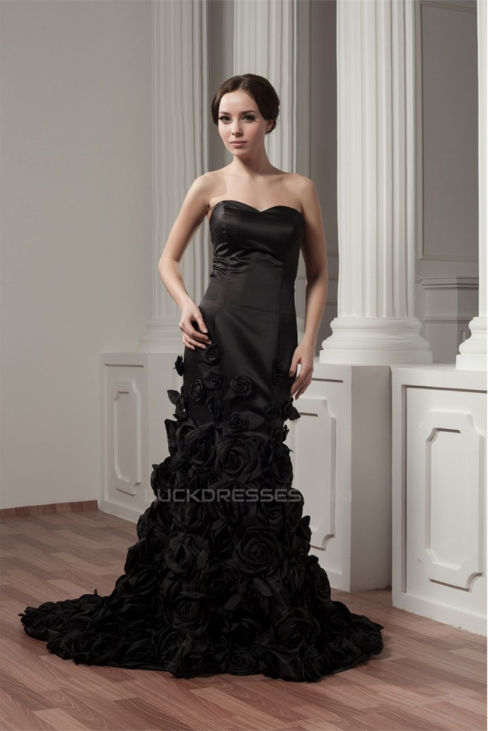 Sleeveless Handmade Flowers Brush Sweep Train Prom/Formal Evening Dresses 02020585