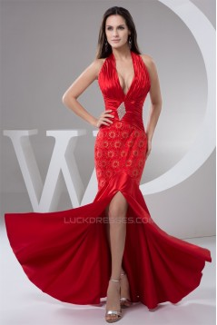 Sleeveless Lace Floor-Length Halter Beading Prom/Formal Evening Dresses 02020586