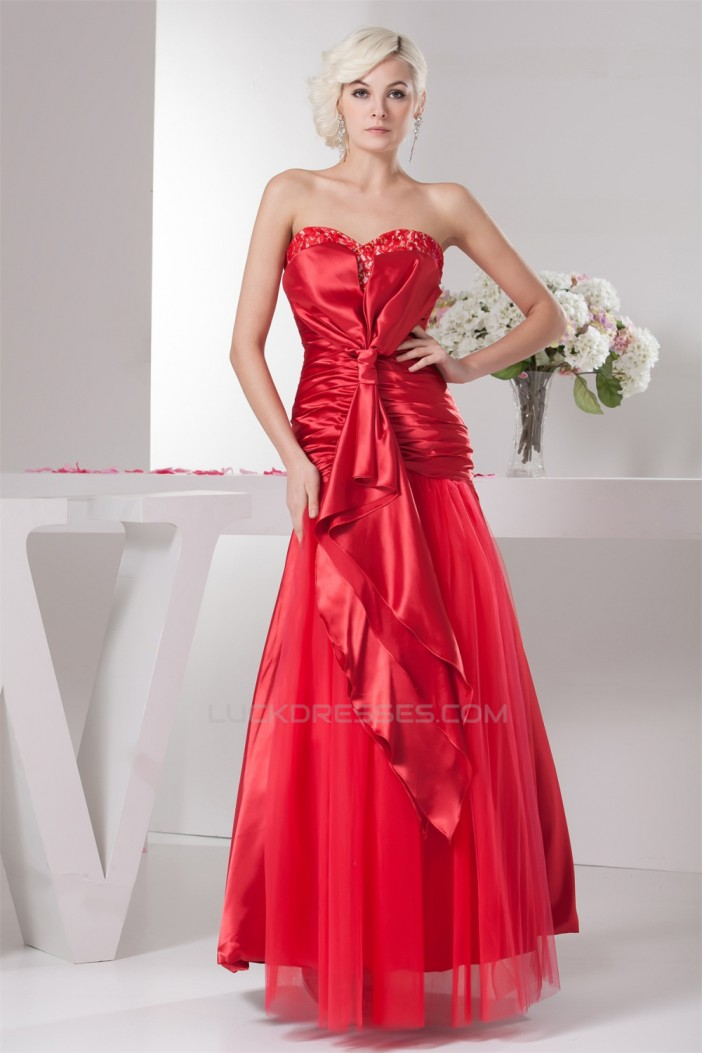 Sleeveless Ruffles A-Line Sweetheart Lace Fine Netting Prom/Formal Evening Dresses 02020588