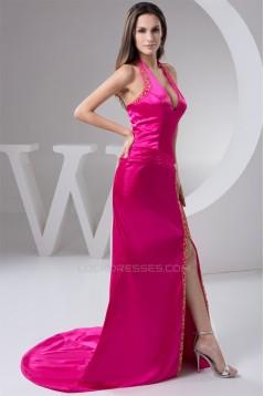 Sleeveless Sheath/Column Elastic Woven Satin Prom/Formal Evening Dresses 02020591
