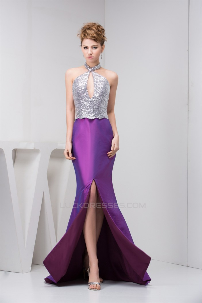 Split Front Taffeta Sleeveless Halter Mermaid/Trumpet Mother of the Bride Dresses 02020593