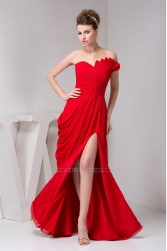 A-Line Pleats Sweetheart Floor-Length Chiffon Prom Evening Party Dresses 02020597