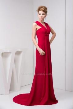V-Neck Chiffon Sleeveless Ruffles Prom/Formal Evening Dresses 02020604